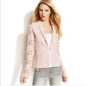 INC International Concepts Floral Lace Blazer Pink